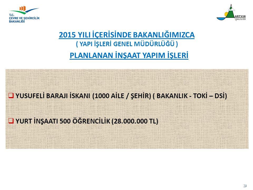  YUSUFELİ BARAJI İSKANI (1000 AİLE / ŞEHİR) ( BAKANLIK - TOKİ – DSİ)  YURT İNŞAATI 500 ÖĞRENCİLİK (28.000.000 TL) 29 2015 YILI İÇERİSİNDE BAKANLIĞIM