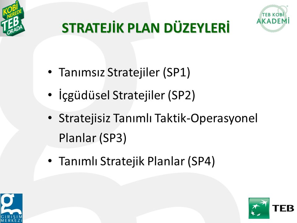 Tanımsız Stratejiler (SP1) İçgüdüsel Stratejiler (SP2) Stratejisiz Tanımlı Taktik-Operasyonel Planlar (SP3) Tanımlı Stratejik Planlar (SP4) STRATEJİK