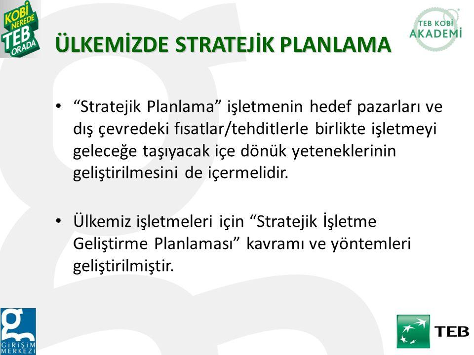 """ÜLKEMİZDE STRATEJİK PLANLAMA """"Stratejik Planlama"""" işletmenin hedef pazarları ve dış çevredeki fısatlar/tehditlerle birlikte işletmeyi geleceğe taşıyac"""