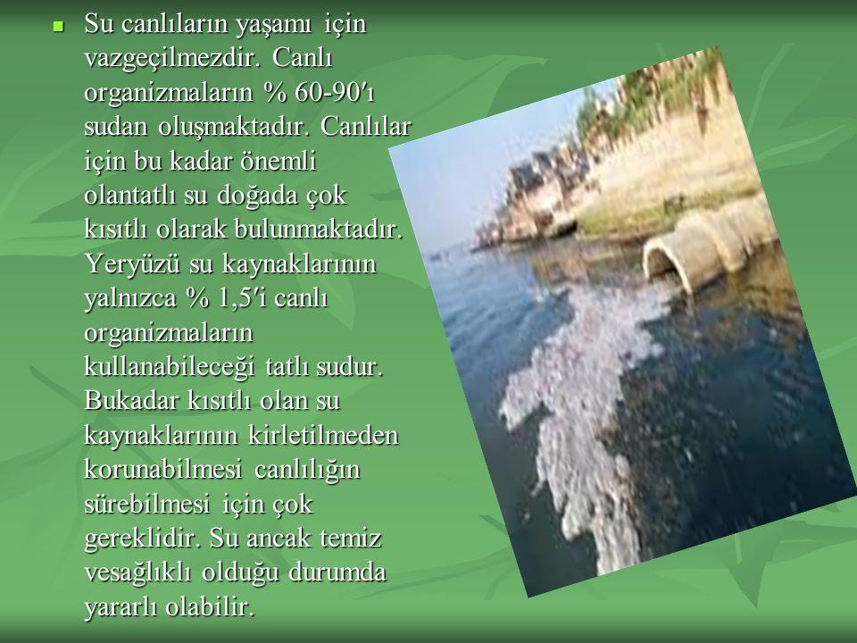 Su canlıların yaşamı için vazgeçilmezdir. Canlı organizmaların % 60-90′ı sudan oluşmaktadır. Canlılar için bu kadar önemli olantatlı su doğada çok kıs