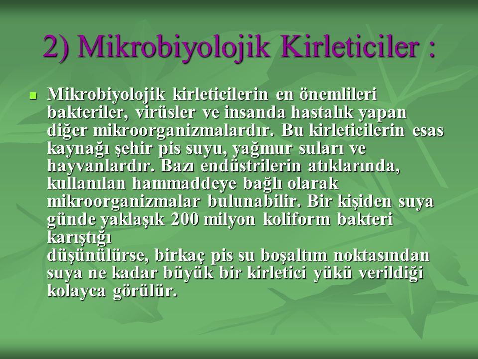 2) Mikrobiyolojik Kirleticiler : Mikrobiyolojik kirleticilerin en önemlileri bakteriler, virüsler ve insanda hastalık yapan diğer mikroorganizmalardır