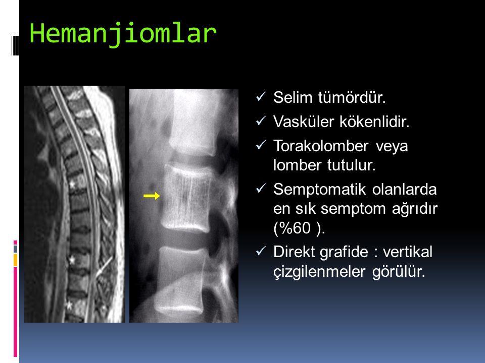 Hemanjiomlar Selim tümördür. Vasküler kökenlidir. Torakolomber veya lomber tutulur. Semptomatik olanlarda en sık semptom ağrıdır (%60 ). Direkt grafid