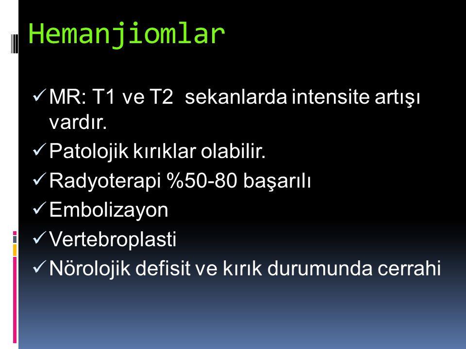 Hemanjiomlar MR: T1 ve T2 sekanlarda intensite artışı vardır. Patolojik kırıklar olabilir. Radyoterapi %50-80 başarılı Embolizayon Vertebroplasti Nöro