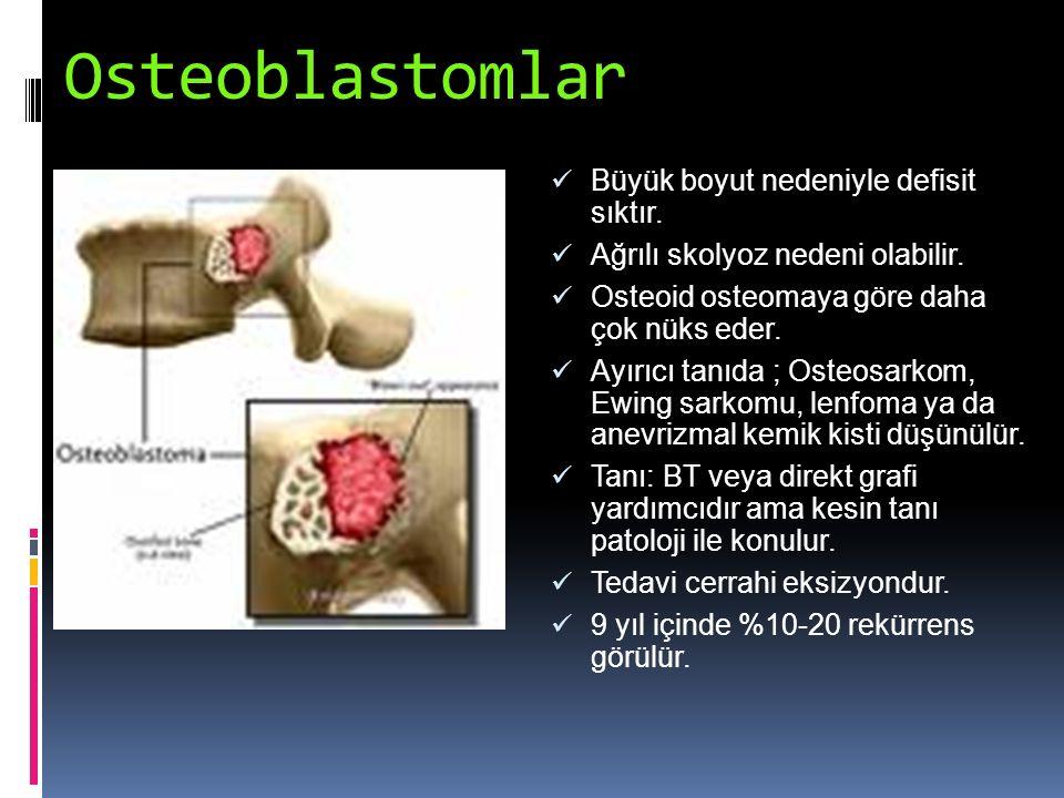 Osteoblastomlar Büyük boyut nedeniyle defisit sıktır. Ağrılı skolyoz nedeni olabilir. Osteoid osteomaya göre daha çok nüks eder. Ayırıcı tanıda ; Oste