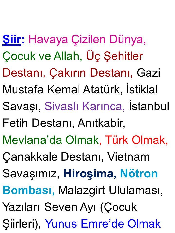 Şiir: Havaya Çizilen Dünya, Çocuk ve Allah, Üç Şehitler Destanı, Çakırın Destanı, Gazi Mustafa Kemal Atatürk, İstiklal Savaşı, Sivaslı Karınca, İstanb