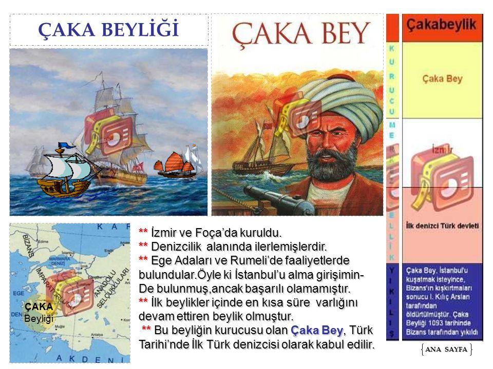 ÇAKA BEYLİĞİ ANA SAYFA ANA SAYFA ÇAKA Beyliği ** İzmir ve Foça'da kuruldu. ** Denizcilik alanında ilerlemişlerdir. ** Ege Adaları ve Rumeli'de faaliye