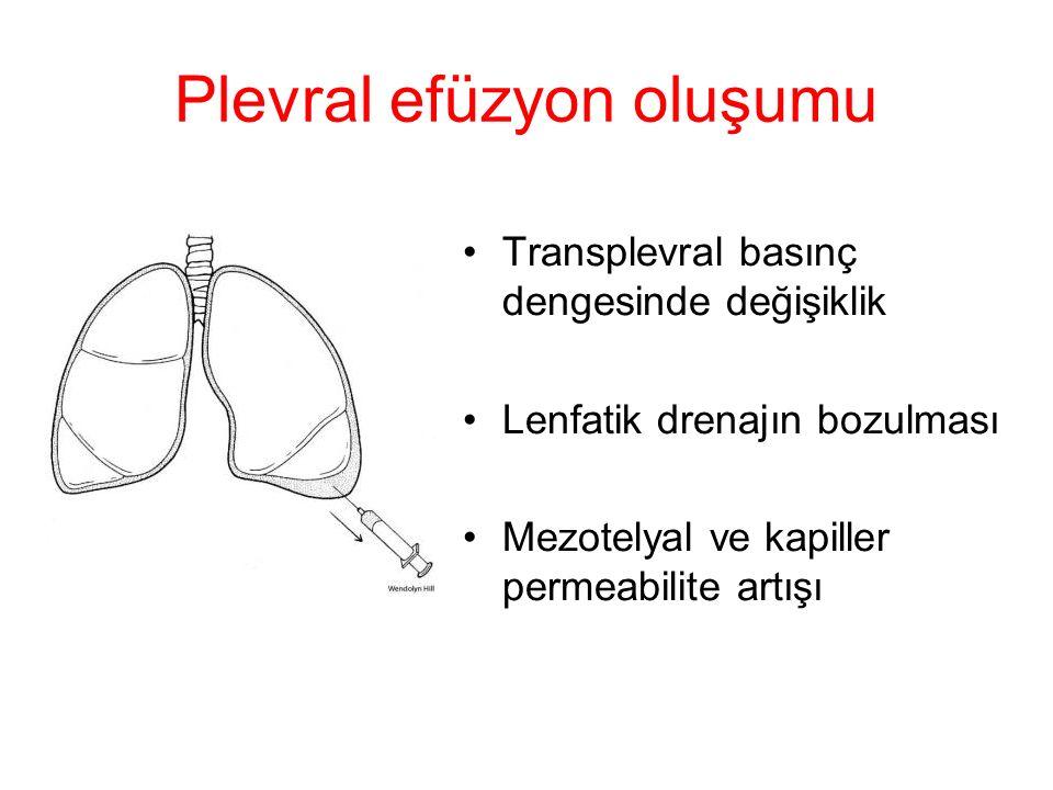 Plevral efüzyon oluşumu Transplevral basınç dengesinde değişiklik Lenfatik drenajın bozulması Mezotelyal ve kapiller permeabilite artışı