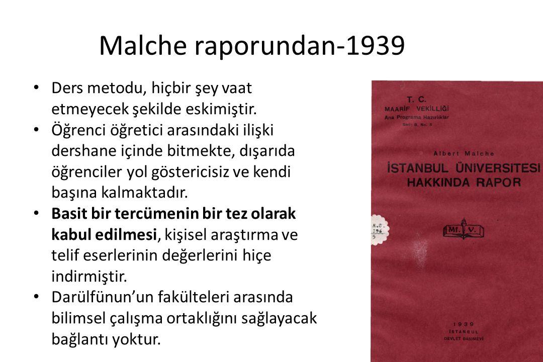 Malche raporundan-1939 Öğretim üyelerinin çoğunluğu, dışarıdaki iş ve ilişkilerinin çokluğu yüzünden Darülfünun'daki görevlerini ikinci derecede sayacak kadar kurum ile bağlarını azaltmışlardır.