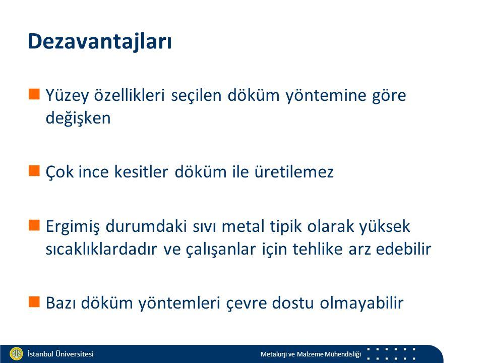 Materials and Chemistry İstanbul Üniversitesi Metalurji ve Malzeme Mühendisliği İstanbul Üniversitesi Metalurji ve Malzeme Mühendisliği Dezavantajları Yüzey özellikleri seçilen döküm yöntemine göre değişken Çok ince kesitler döküm ile üretilemez Ergimiş durumdaki sıvı metal tipik olarak yüksek sıcaklıklardadır ve çalışanlar için tehlike arz edebilir Bazı döküm yöntemleri çevre dostu olmayabilir