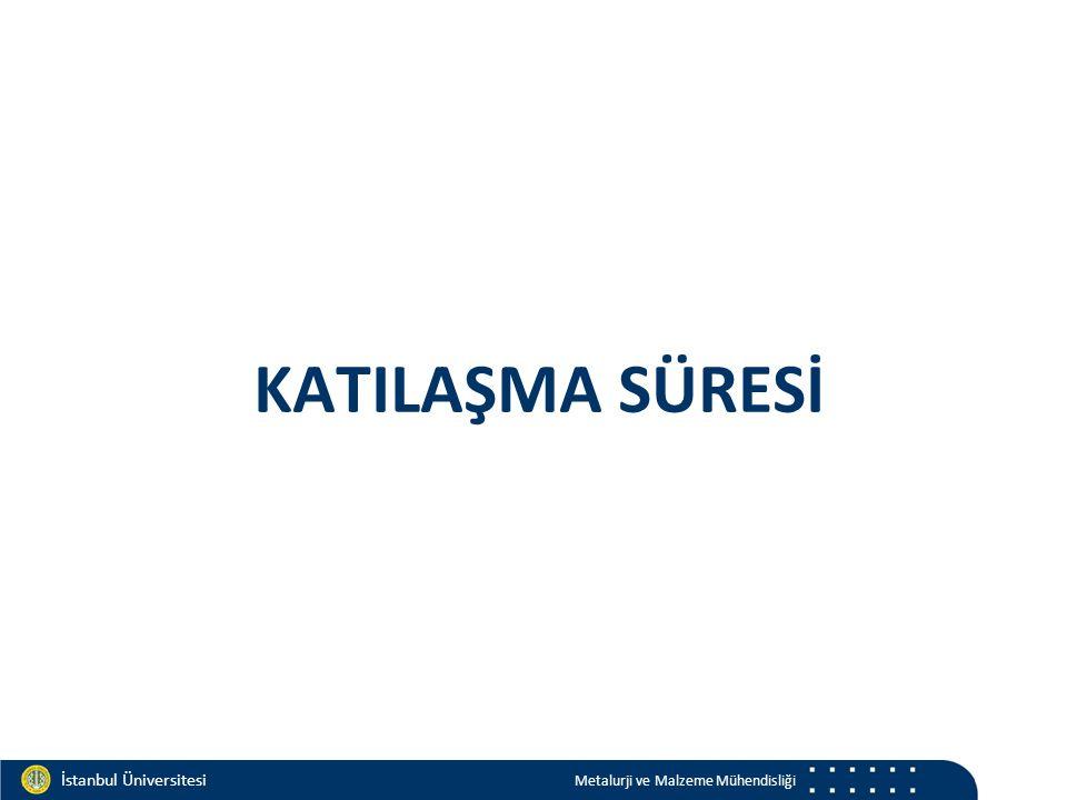 Materials and Chemistry İstanbul Üniversitesi Metalurji ve Malzeme Mühendisliği İstanbul Üniversitesi Metalurji ve Malzeme Mühendisliği KATILAŞMA SÜRESİ