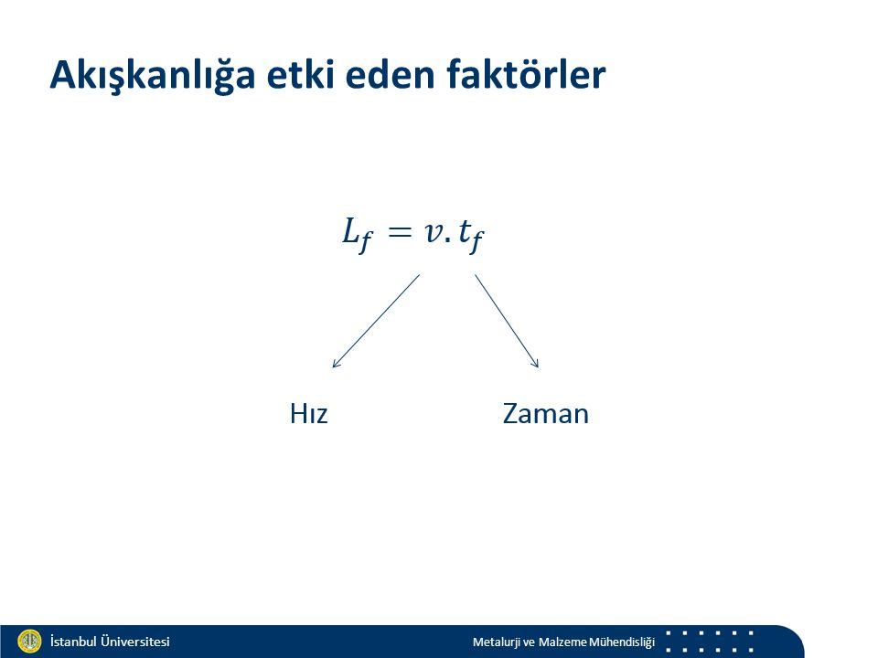 Materials and Chemistry İstanbul Üniversitesi Metalurji ve Malzeme Mühendisliği İstanbul Üniversitesi Metalurji ve Malzeme Mühendisliği Akışkanlığa etki eden faktörler