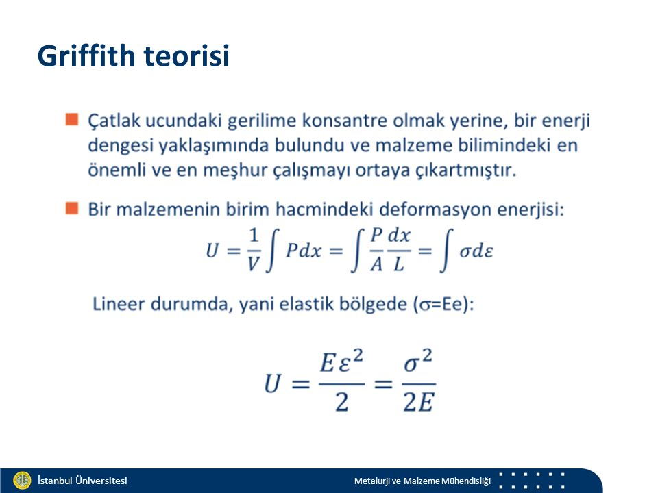 Materials and Chemistry İstanbul Üniversitesi Metalurji ve Malzeme Mühendisliği İstanbul Üniversitesi Metalurji ve Malzeme Mühendisliği Sünek davranış Griffith, camlar ile yaptığı bu çalışmada, tamamen gevrek malzemeleri ele almıştır Sünek davranış gösteren malzemelerde, sadece yüzey gerilimini hesaplamak yeterli olmaz!