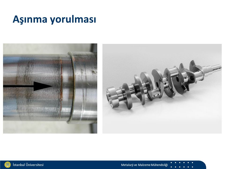 Materials and Chemistry İstanbul Üniversitesi Metalurji ve Malzeme Mühendisliği İstanbul Üniversitesi Metalurji ve Malzeme Mühendisliği Aşınma yorulma