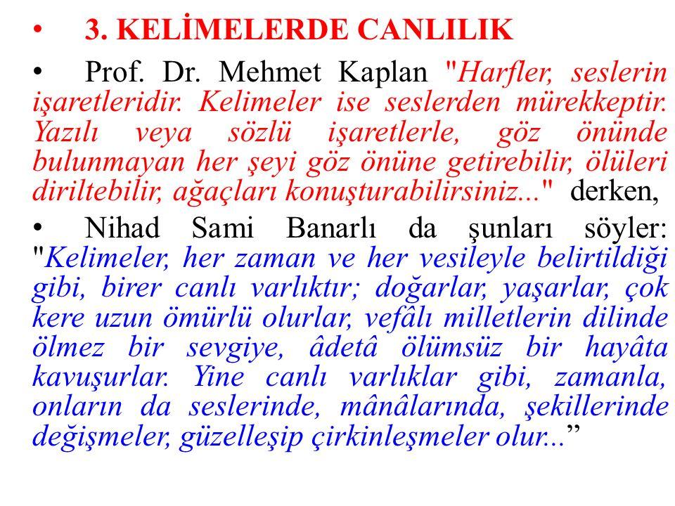 3. KELİMELERDE CANLILIK Prof. Dr. Mehmet Kaplan