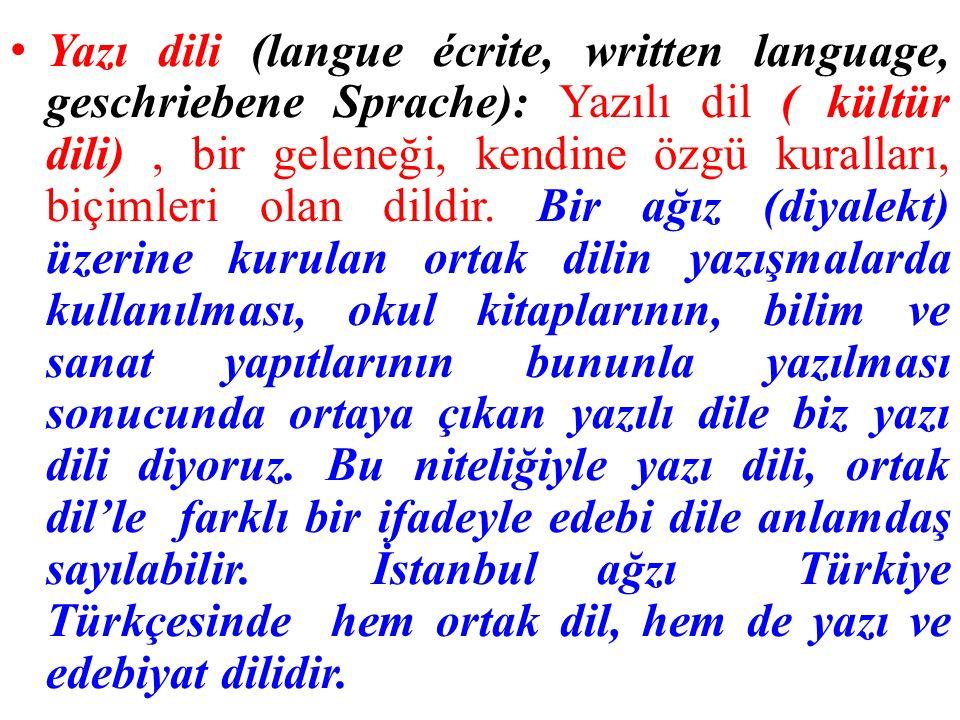Yazı dili (langue écrite, written language, geschriebene Sprache): Yazılı dil ( kültür dili), bir geleneği, kendine özgü kuralları, biçimleri olan dildir.