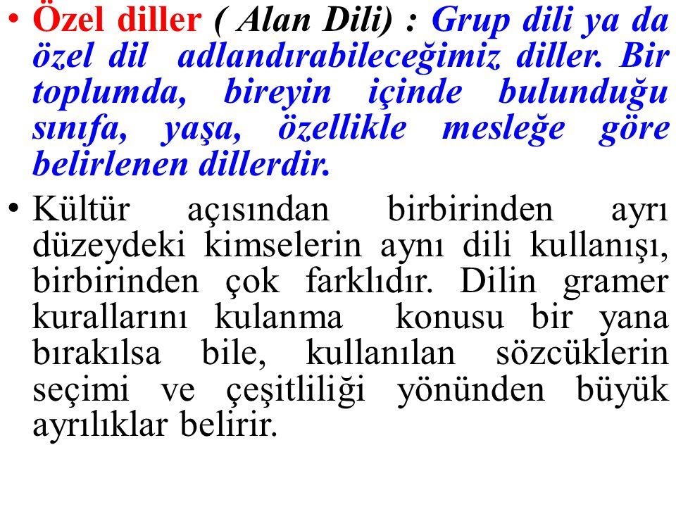 Özel diller ( Alan Dili) : Grup dili ya da özel dil adlandırabileceğimiz diller.