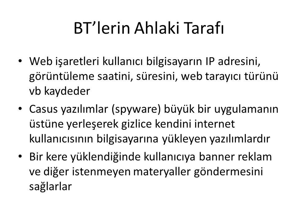 BT'lerin Ahlaki Tarafı Web işaretleri kullanıcı bilgisayarın IP adresini, görüntüleme saatini, süresini, web tarayıcı türünü vb kaydeder Casus yazılım