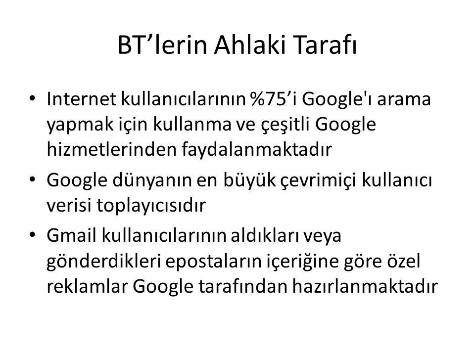 BT'lerin Ahlaki Tarafı Internet kullanıcılarının %75'i Google'ı arama yapmak için kullanma ve çeşitli Google hizmetlerinden faydalanmaktadır Google dü