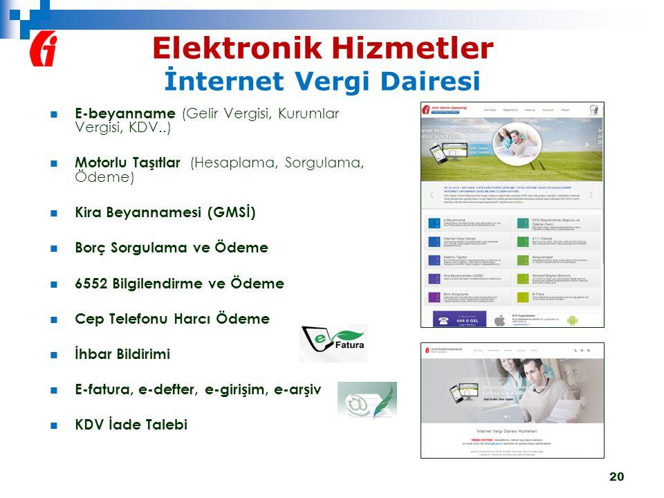 Elektronik Hizmetler İnternet Vergi Dairesi 20 E-beyanname (Gelir Vergisi, Kurumlar Vergisi, KDV..) Motorlu Taşıtlar (Hesaplama, Sorgulama, Ödeme) Kir