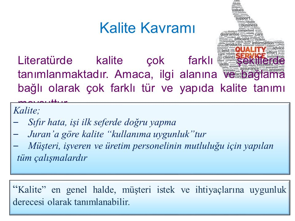 Kalite Kavramı Literatürde kalite çok farklı şekillerde tanımlanmaktadır. Amaca, ilgi alanına ve bağlama bağlı olarak çok farklı tür ve yapıda kalite