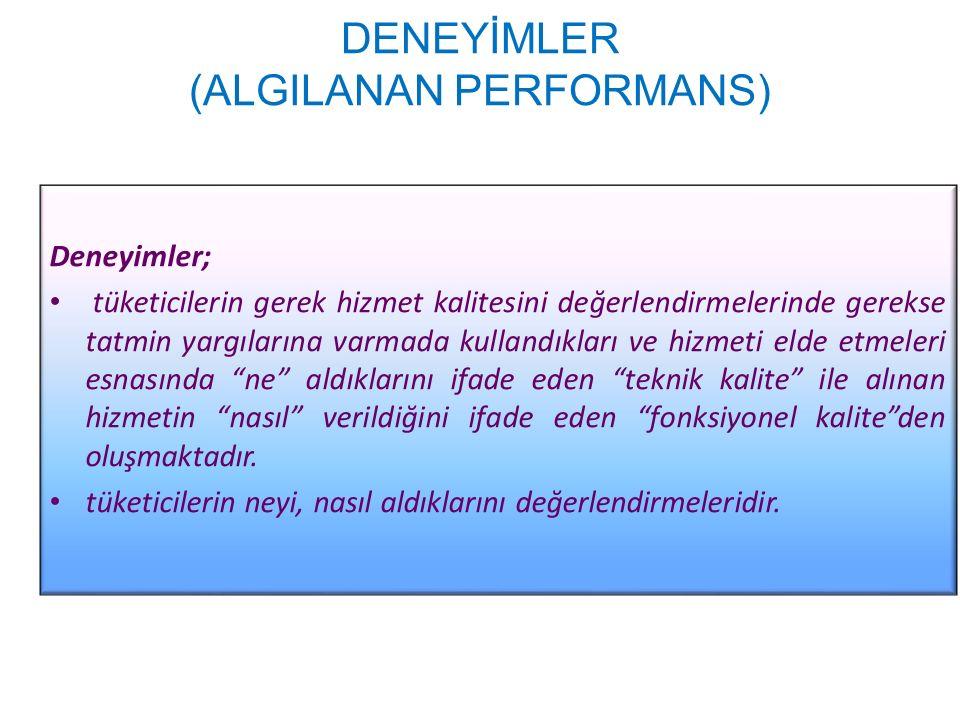 DENEYİMLER (ALGILANAN PERFORMANS) Deneyimler; tüketicilerin gerek hizmet kalitesini değerlendirmelerinde gerekse tatmin yargılarına varmada kullandıkl