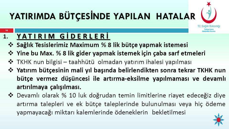 YATIRIM GİDERLERİ 1.