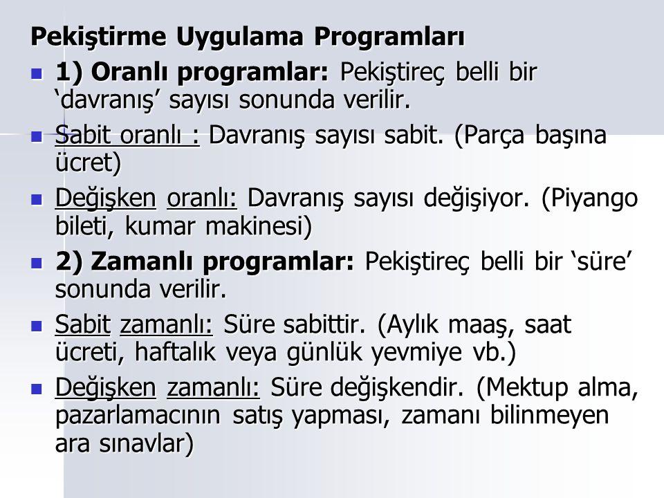 Pekiştirme Uygulama Programları 1) Oranlı programlar: Pekiştireç belli bir 'davranış' sayısı sonunda verilir. 1) Oranlı programlar: Pekiştireç belli b