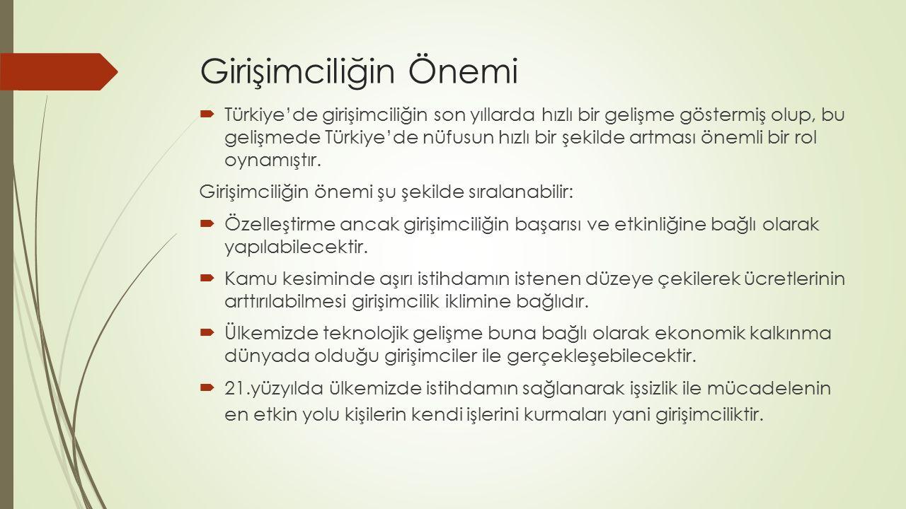 Girişimciliğin Önemi  Türkiye'de girişimciliğin son yıllarda hızlı bir gelişme göstermiş olup, bu gelişmede Türkiye'de nüfusun hızlı bir şekilde artm
