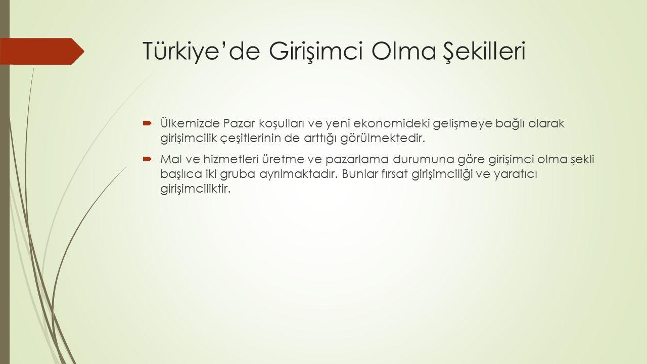 Türkiye'de Girişimci Olma Şekilleri  Ülkemizde Pazar koşulları ve yeni ekonomideki gelişmeye bağlı olarak girişimcilik çeşitlerinin de arttığı görülm