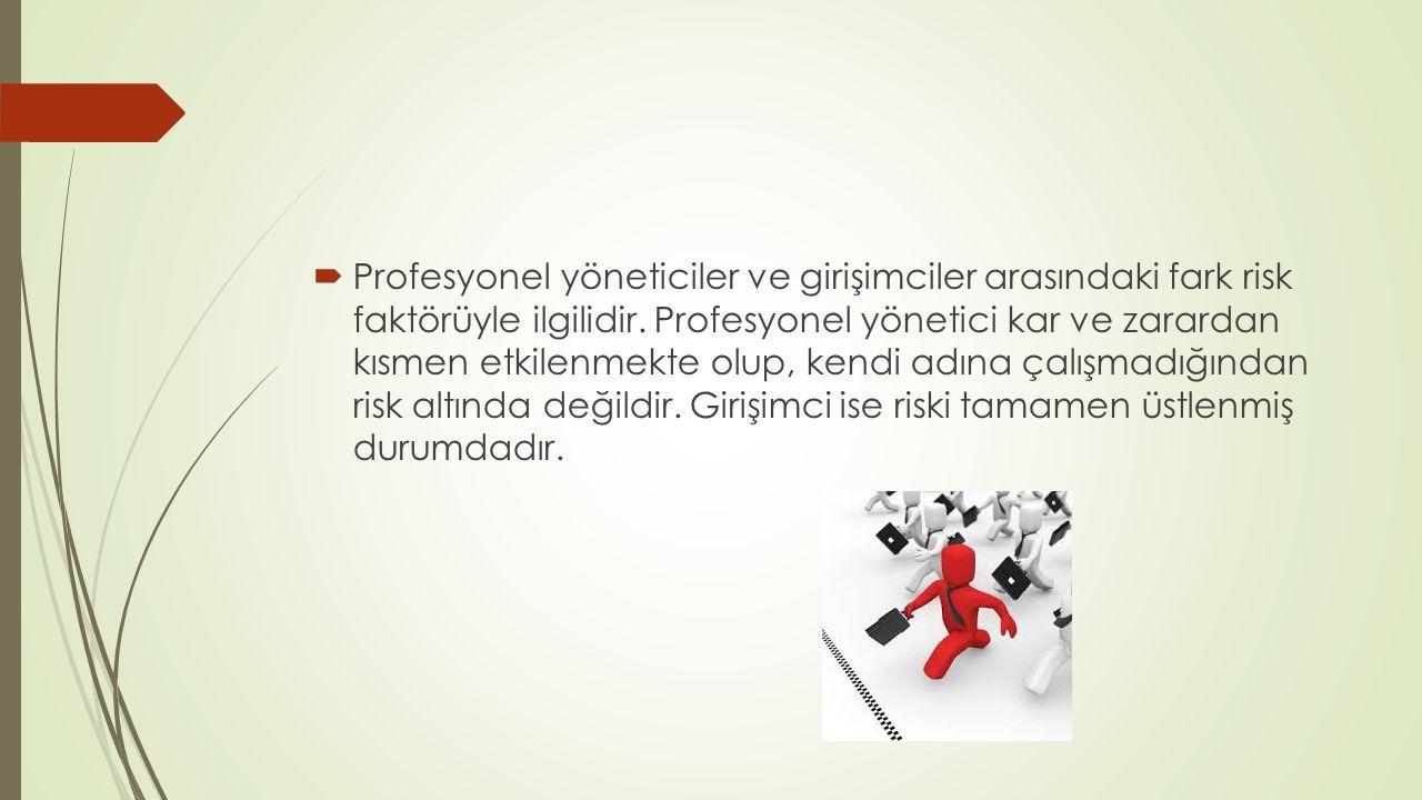  Girişimciliğin bir çok tanımı olmak ile beraber, hemen tümünde ortak nokta girişimcinin daima «başkalarının baktığı ama görmediği fırsatları görüp, bunları birer iş fikrine dönüştürebilmesi» ve «risk almaya yatkınlığı» dır.