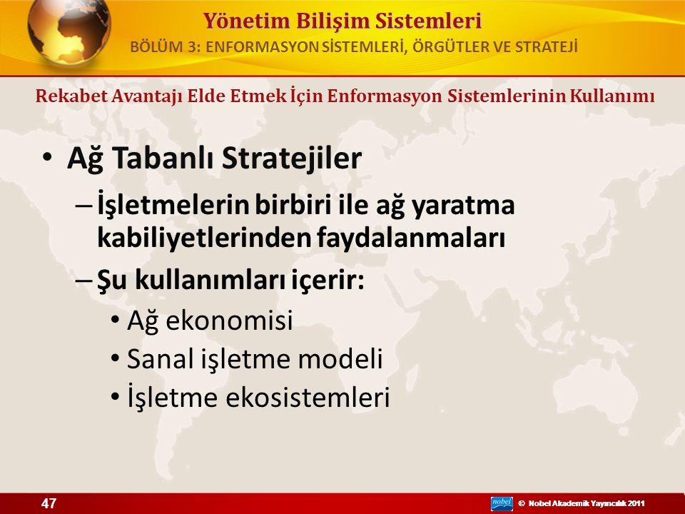 Yönetim Bilişim Sistemleri © Nobel Akademik Yayıncılık 2011 Ağ Tabanlı Stratejiler – İşletmelerin birbiri ile ağ yaratma kabiliyetlerinden faydalanmal