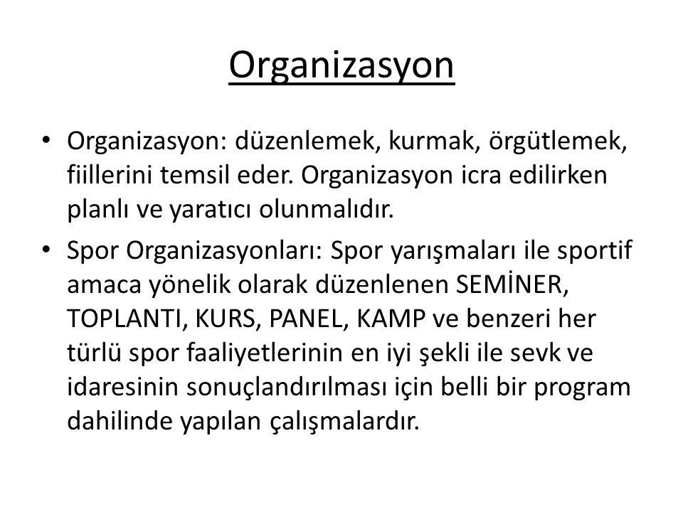 Organizasyon Organizasyon: düzenlemek, kurmak, örgütlemek, fiillerini temsil eder. Organizasyon icra edilirken planlı ve yaratıcı olunmalıdır. Spor Or