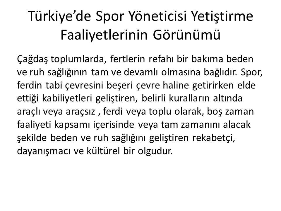 Türkiye'de Spor Yöneticisi Yetiştirme Faaliyetlerinin Görünümü Çağdaş toplumlarda, fertlerin refahı bir bakıma beden ve ruh sağlığının tam ve devamlı