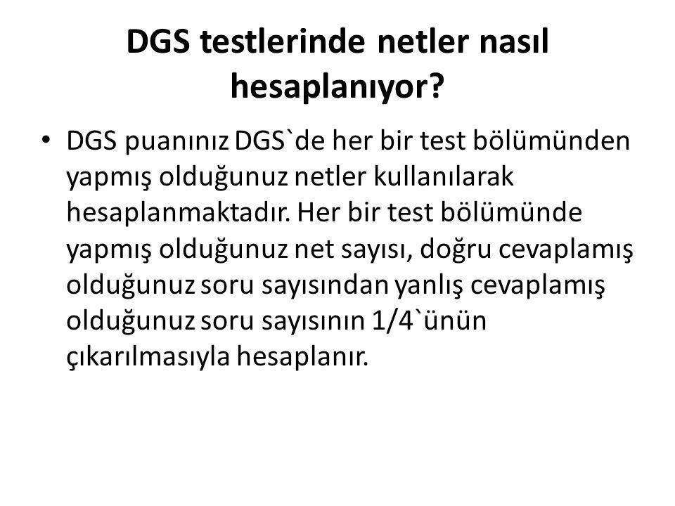 DGS testlerinde netler nasıl hesaplanıyor.