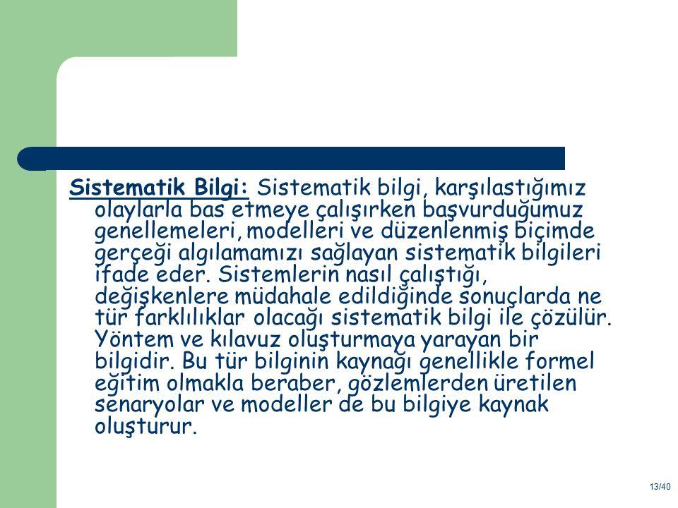 13/40 Sistematik Bilgi: Sistematik bilgi, karşılastığımız olaylarla bas etmeye çalışırken başvurduğumuz genellemeleri, modelleri ve düzenlenmiş biçimd
