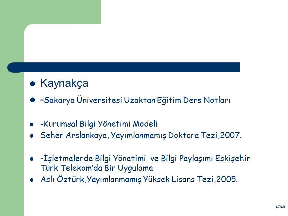 47/40 Kaynakça - Sakarya Üniversitesi Uzaktan Eğitim Ders Notları -Kurumsal Bilgi Yönetimi Modeli Seher Arslankaya, Yayımlanmamış Doktora Tezi,2007. -