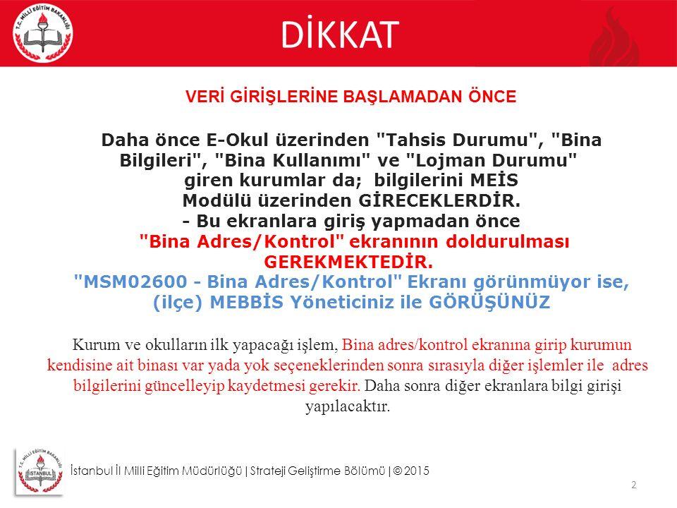 DİKKAT 2 İstanbul İl Milli Eğitim Müdürlüğü|Strateji Geliştirme Bölümü|© 2015 VERİ GİRİŞLERİNE BAŞLAMADAN ÖNCE Daha önce E-Okul üzerinden