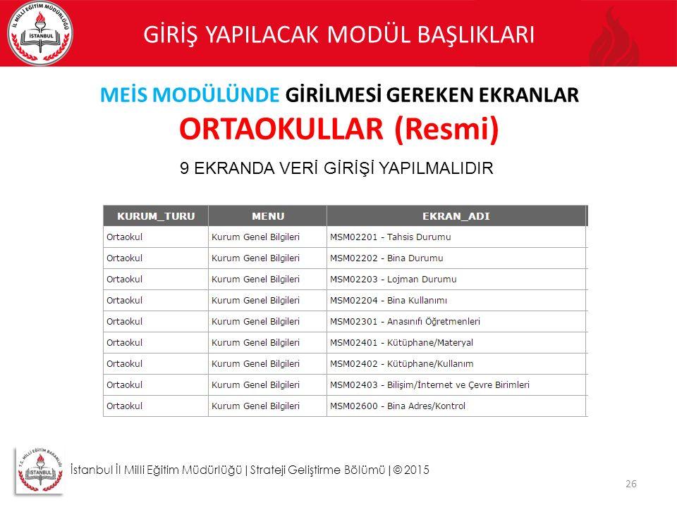 26 İstanbul İl Milli Eğitim Müdürlüğü|Strateji Geliştirme Bölümü|© 2015 GİRİŞ YAPILACAK MODÜL BAŞLIKLARI MEİS MODÜLÜNDE GİRİLMESİ GEREKEN EKRANLAR ORT