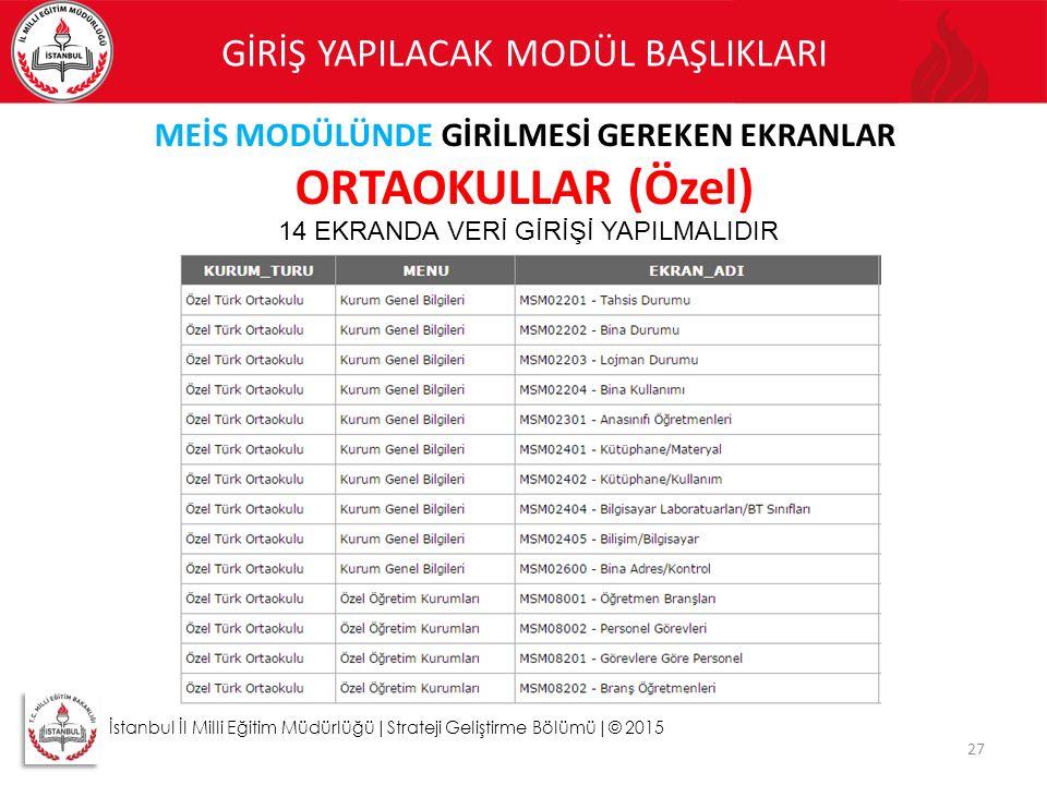 27 İstanbul İl Milli Eğitim Müdürlüğü|Strateji Geliştirme Bölümü|© 2015 GİRİŞ YAPILACAK MODÜL BAŞLIKLARI MEİS MODÜLÜNDE GİRİLMESİ GEREKEN EKRANLAR ORT