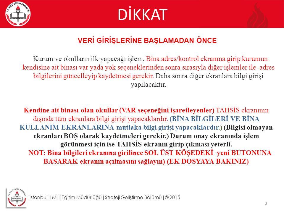 DİKKAT 3 İstanbul İl Milli Eğitim Müdürlüğü|Strateji Geliştirme Bölümü|© 2015 VERİ GİRİŞLERİNE BAŞLAMADAN ÖNCE Kurum ve okulların ilk yapacağı işlem,