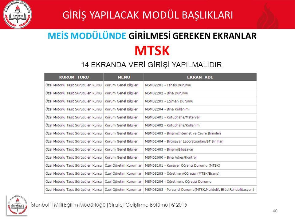40 İstanbul İl Milli Eğitim Müdürlüğü|Strateji Geliştirme Bölümü|© 2015 GİRİŞ YAPILACAK MODÜL BAŞLIKLARI MEİS MODÜLÜNDE GİRİLMESİ GEREKEN EKRANLAR MTS