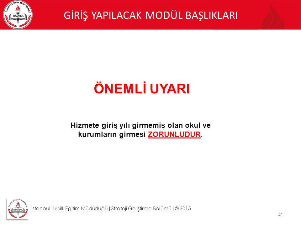 41 İstanbul İl Milli Eğitim Müdürlüğü|Strateji Geliştirme Bölümü|© 2015 GİRİŞ YAPILACAK MODÜL BAŞLIKLARI ÖNEMLİ UYARI Hizmete giriş yılı girmemiş olan