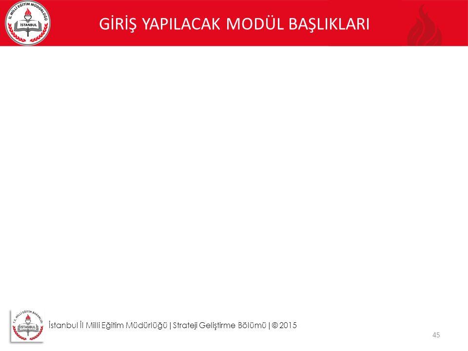 45 İstanbul İl Milli Eğitim Müdürlüğü|Strateji Geliştirme Bölümü|© 2015 GİRİŞ YAPILACAK MODÜL BAŞLIKLARI