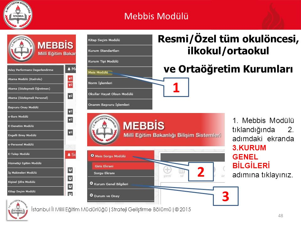 Mebbis Modülü 48 Resmi/Özel tüm okulöncesi, ilkokul/ortaokul ve Ortaöğretim Kurumları İstanbul İl Milli Eğitim Müdürlüğü|Strateji Geliştirme Bölümü|©