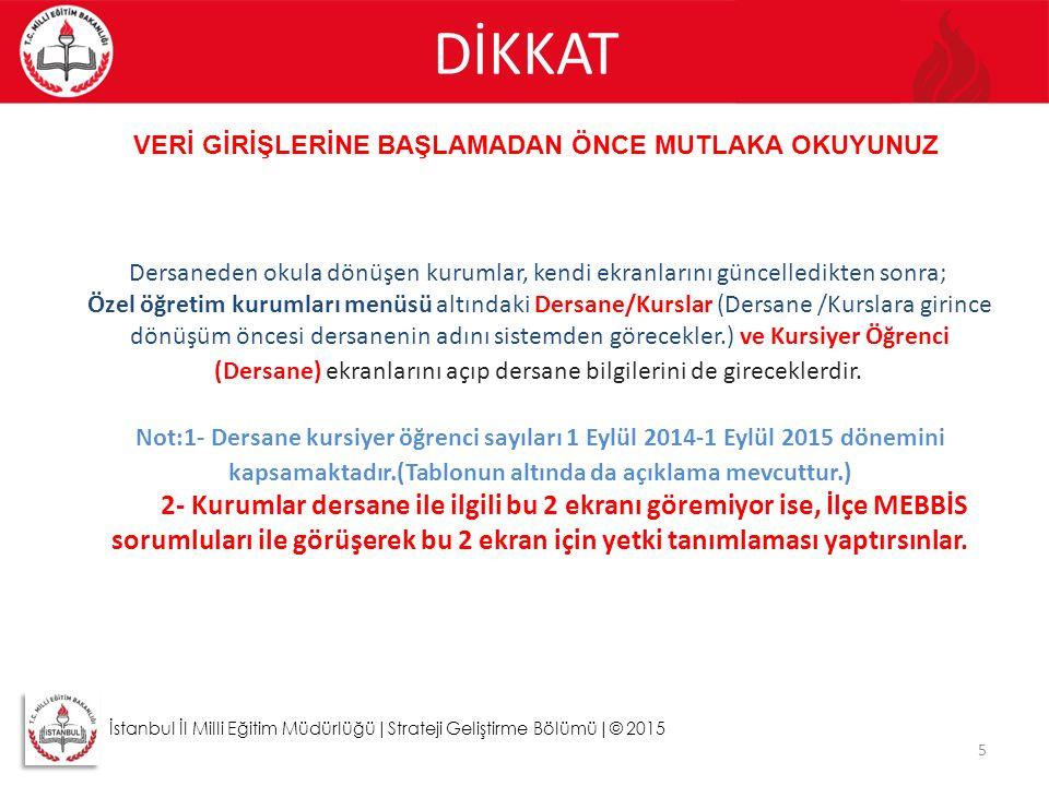DİKKAT 5 İstanbul İl Milli Eğitim Müdürlüğü|Strateji Geliştirme Bölümü|© 2015 VERİ GİRİŞLERİNE BAŞLAMADAN ÖNCE MUTLAKA OKUYUNUZ Dersaneden okula dönüş