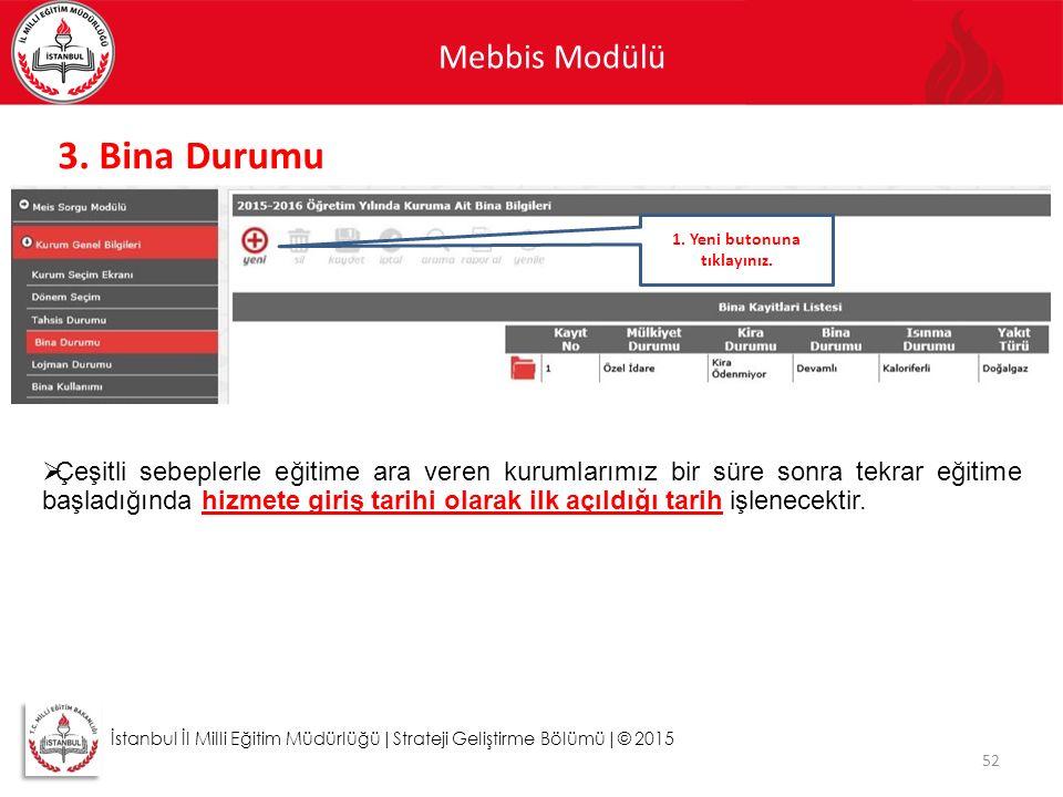 Mebbis Modülü 52 İstanbul İl Milli Eğitim Müdürlüğü|Strateji Geliştirme Bölümü|© 2015 3. Bina Durumu  Çeşitli sebeplerle eğitime ara veren kurumlarım