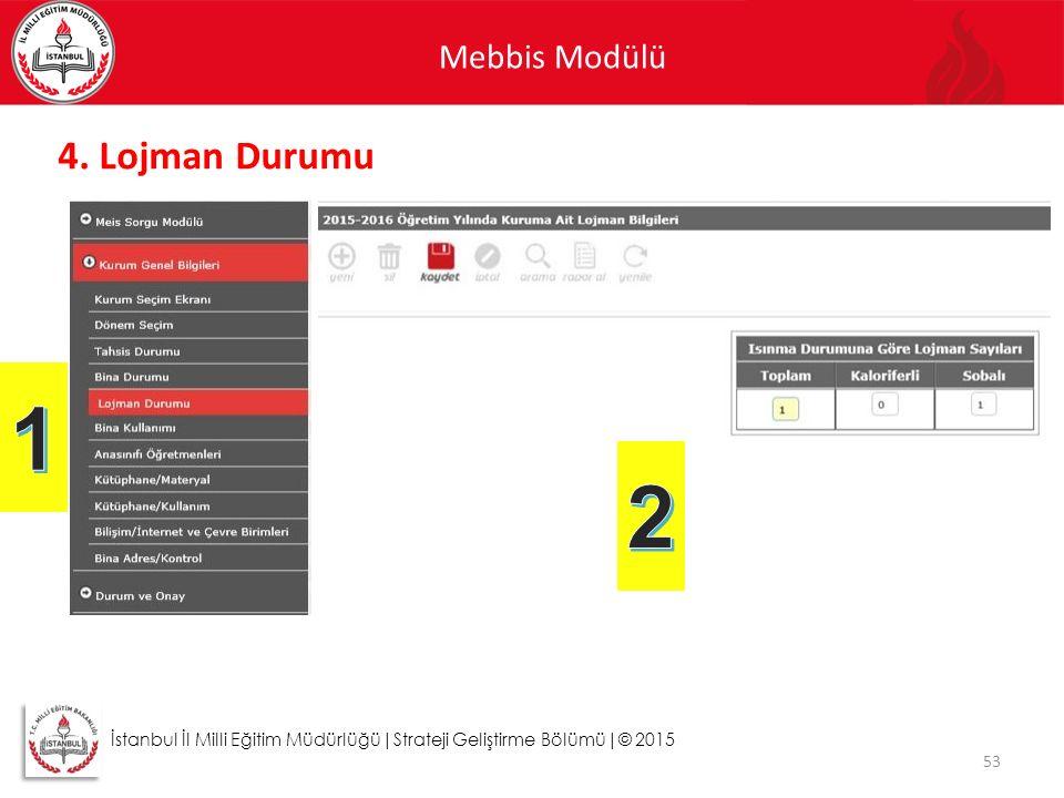 Mebbis Modülü 53 İstanbul İl Milli Eğitim Müdürlüğü|Strateji Geliştirme Bölümü|© 2015 4. Lojman Durumu