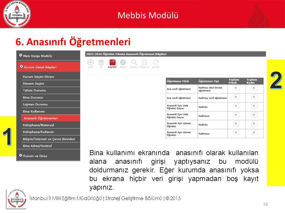Mebbis Modülü 56 İstanbul İl Milli Eğitim Müdürlüğü|Strateji Geliştirme Bölümü|© 2015 6. Anasınıfı Öğretmenleri Bina kullanımı ekranında anasınıfı ola