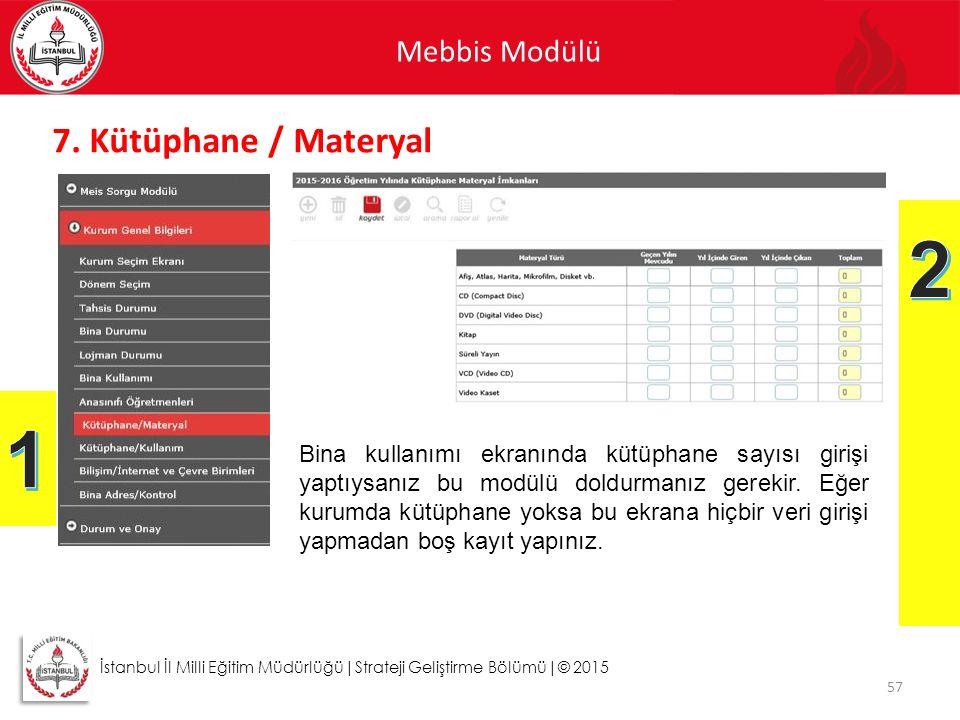 Mebbis Modülü 57 İstanbul İl Milli Eğitim Müdürlüğü|Strateji Geliştirme Bölümü|© 2015 7. Kütüphane / Materyal Bina kullanımı ekranında kütüphane sayıs