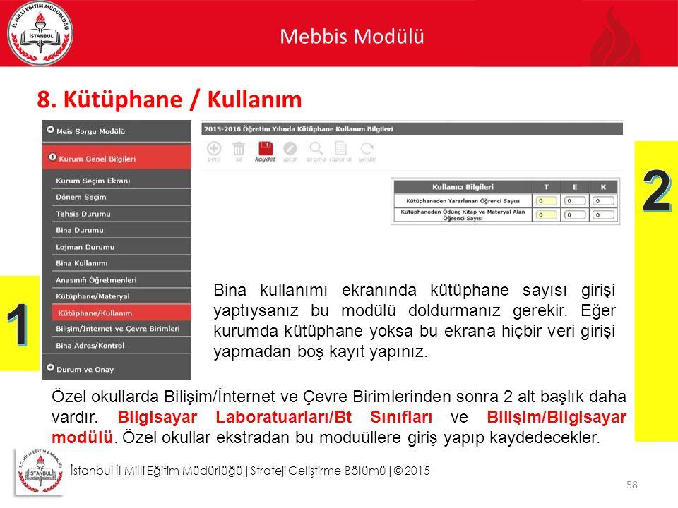 Mebbis Modülü 58 İstanbul İl Milli Eğitim Müdürlüğü|Strateji Geliştirme Bölümü|© 2015 8. Kütüphane / Kullanım Bina kullanımı ekranında kütüphane sayıs